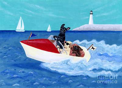 Chocolate Labrador Retriever Painting - Cool Motorboat Labradors by Naomi Ochiai