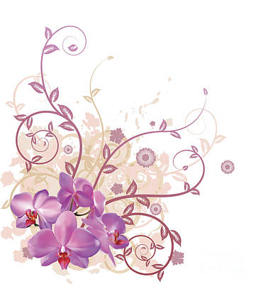 Copy Mixed Media - Cool Orchid Floral Background by Christos Georghiou