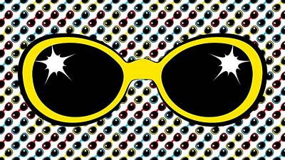 Digital Art - Cool Retro Yellow Sunglasses by MM Anderson