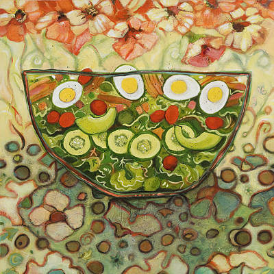 Cucumber Painting - Cool Summer Salad by Jen Norton