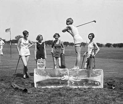 One Piece Swimsuit Photograph - Cool Tee Time by Underwood Archives