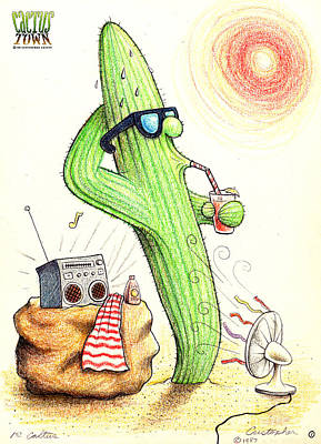 Drawing - Cooler Cactus by Cristophers Dream Artistry
