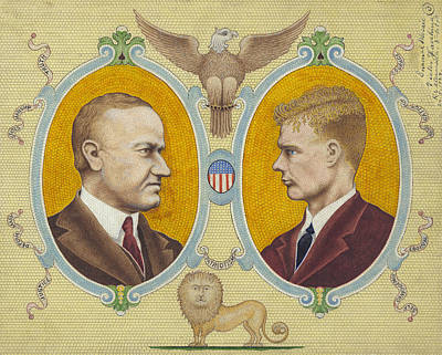 Mosaic Portrait Drawing - Coolidge And Lindbergh by Granger