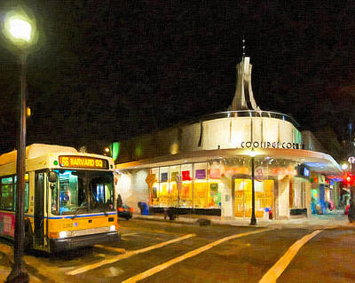 Coolidge Corner In Brookline At Night Art Print