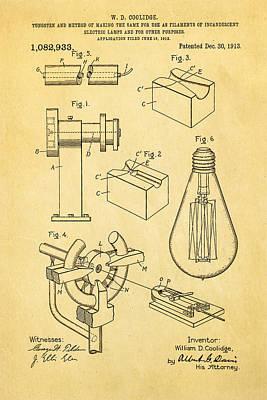 Coolidge Incandescent Lighting Patent Art 1913 Art Print