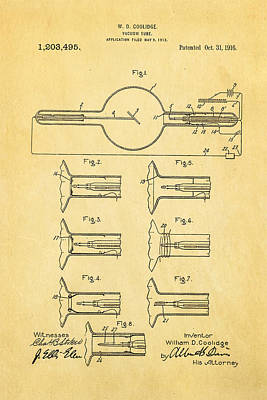 X Ray Photograph - Coolidge X-ray Tube Patent Art 1913 by Ian Monk