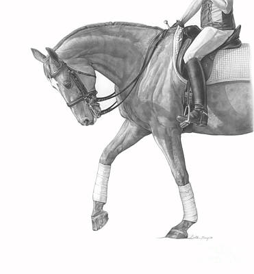 Dressage Drawing - Cooling Down by Gretchen Almy