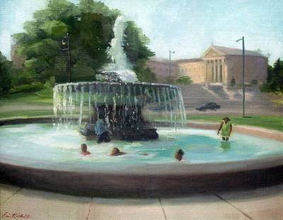 Painting - Cooling Off At The Philadelphia Museum Of Art by Erin Rickelton