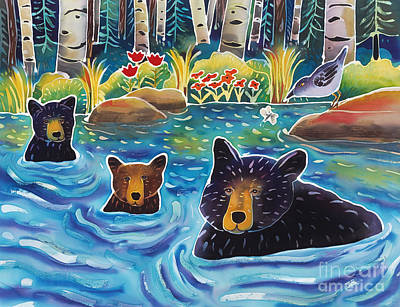 Bear Cub Painting - Cooling Off by Harriet Peck Taylor