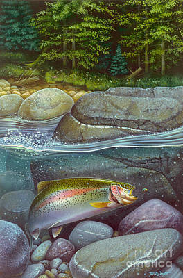 Coolwaters Rainbow Trout Art Print by Jon Q Wright