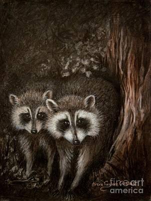 Raccoon Drawing - Coon Kin by Neva Cruddas