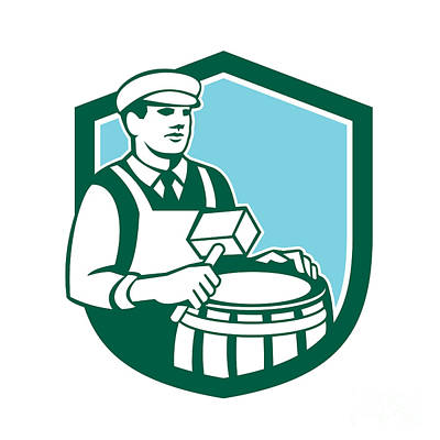 Cooper Barrel Maker Drum Retro Shield Print by Aloysius Patrimonio