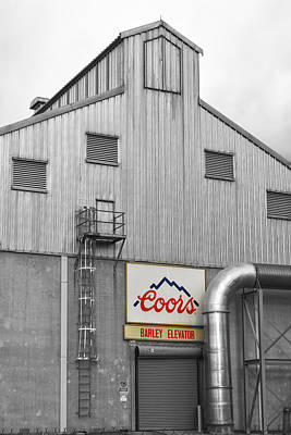 Photograph - Coors Barley Elevator 2 Bw Color by James BO Insogna