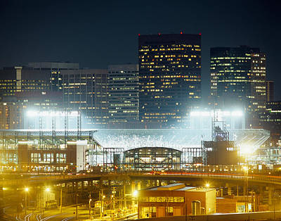 Coors Photograph - Coors Field Lit Up At Night, Denver by Panoramic Images