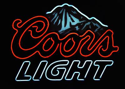 Coors Light Sign Art Print by Linda Tiepelman