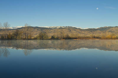 Photograph - Coot Lake Morning Moon Set Reflections by James BO  Insogna