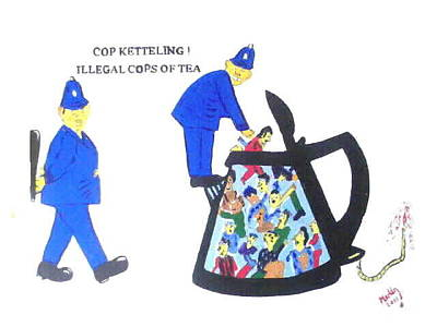 Celebrity Pop Art Potraits - Cop-ketteling Crowd Controll by George Vernon