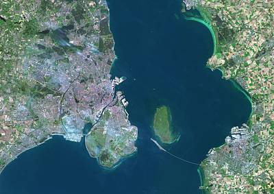 Cartography Photograph - Copenhagen And Malmo by Planetobserver