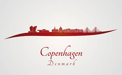 Copenhagen Denmark Digital Art - Copenhagen Skyline In Red by Pablo Romero