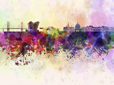 Copenhagen Skyline In Watercolor Background Art Print
