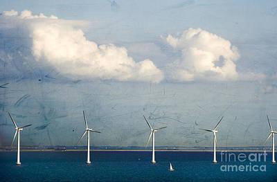 Blue Sailboats Photograph - Copenhagen Wind Turbines by Joan McCool