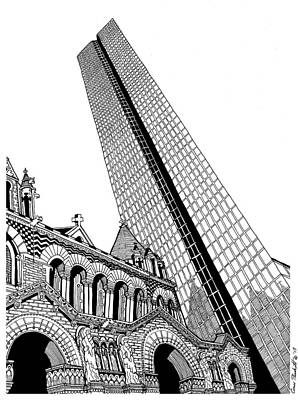 Boston Ma Drawing - Copley Square by Conor Plunkett