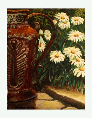Copper And Daisies Art Print by Harriett Masterson