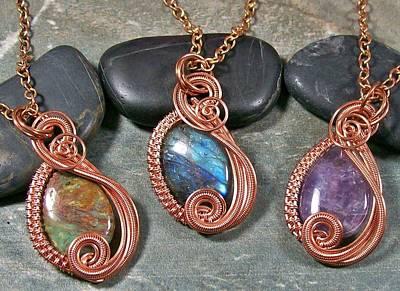 Heather Jordan Jewelry - Copper And Gemstone Swish Pendant by Heather Jordan