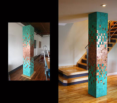 Abstract Art Large Scale Mixed Media - Copper Column  by Adam Colangelo
