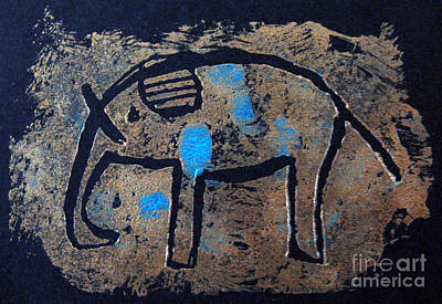 Mixed Media - Copper Elephant With Cobalt by Patricia Januszkiewicz