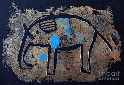 Iridescent Mixed Media - Copper Elephant With Cobalt by Patricia Januszkiewicz