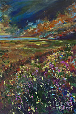 Prairie Sunset Painting - Copper Fields by Karen Ahuja
