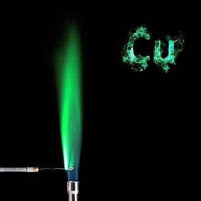 Copper Flame Test Print by Science Photo Library