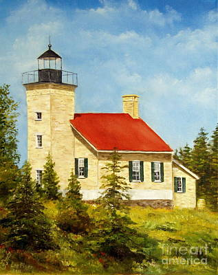 Art Print featuring the painting Copper Harbor Lighthouse by Lee Piper