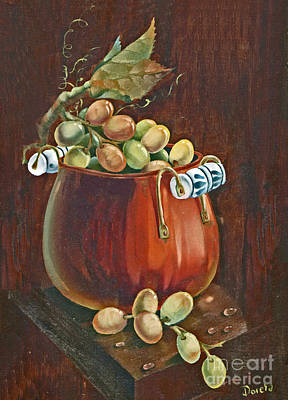 Cornucopia Painting - Copper Kettle Of Grapes by Doreta Y Boyd