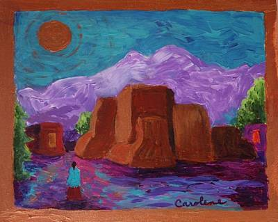 Painting - Copper Moon Over Ranchos by Carolene Of Taos
