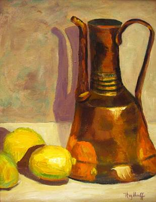 Painting - Copper Pot With Lemons by Pat Heydlauff