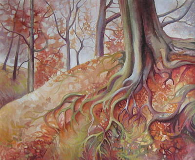 Tree Roots Painting - Copper Rustle by Elena Oleniuc
