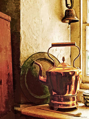 Copper Photograph - Copper Tea Kettle On Windowsill by Susan Savad