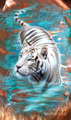 Copper White Tiger Art Print by Sandi Baker