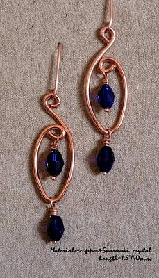 Wirework Jewelry - Copper With Blue 101 by Jan Brieger-Scranton