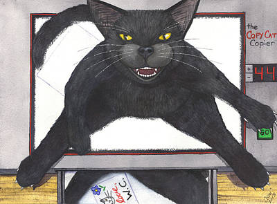 Wicked Kitty Painting - Copy Cat by Catherine G McElroy