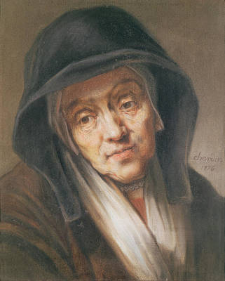 Copy Of A Portrait By Rembrandt Of His Mother, 1776 Pastel On Paper Art Print by Jean-Baptiste Simeon Chardin