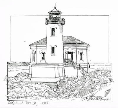 Lighthouse Drawing - Coquille River Light by Ira Shander