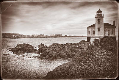 Park Scene Digital Art - Coquille River Lighthouse- Vintage by Priscilla Burgers