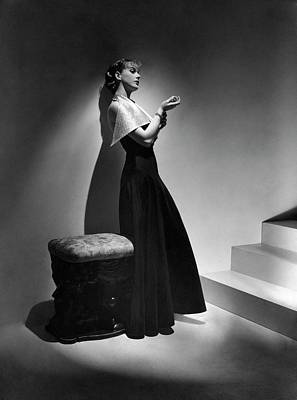 Cora Hemmet Wearing A Gown With Lame Revers Print by Horst P. Horst