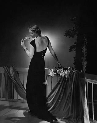 Black Curly Hair Photograph - Cora Hemmet Wearing A Vionnet Gown by Horst P. Horst