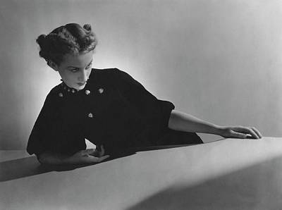 Black Curly Hair Photograph - Cora Hemmet Wearing Pins And Necklace By Cartier by Horst P. Horst