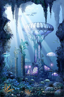 Dolphin Digital Art - Coral City   by Ciro Marchetti