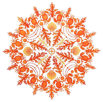 Coastal Painting - Coral Crab Mandala by Stephanie Troxell